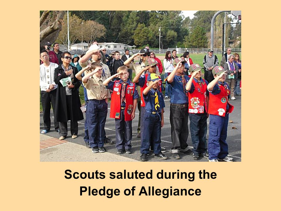 Scouts saluted during the Pledge of Allegiance