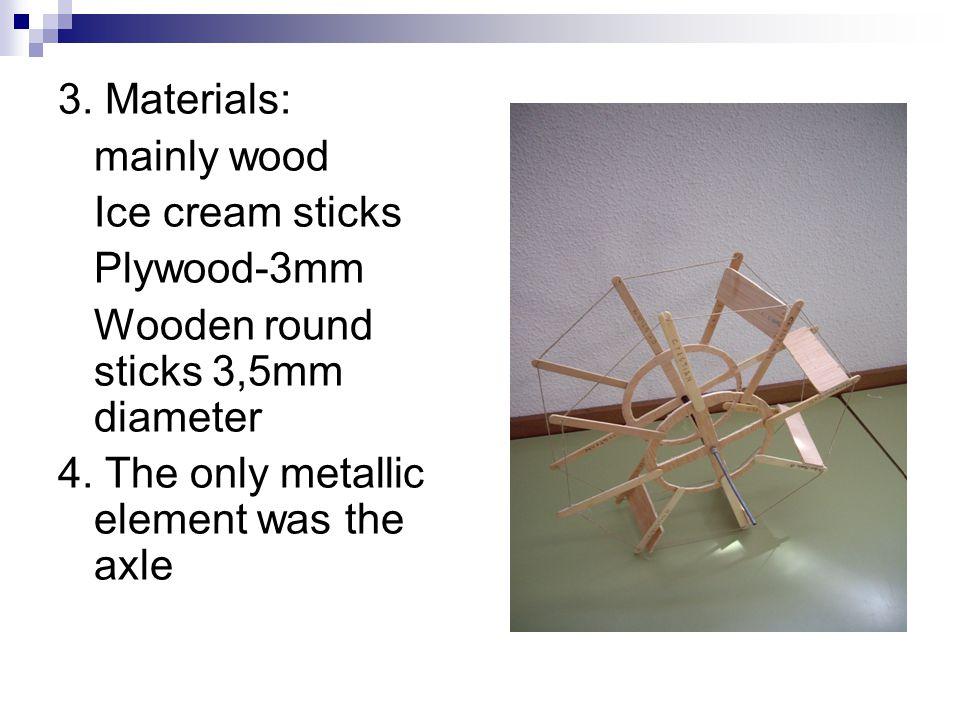 3. Materials: mainly wood Ice cream sticks Plywood-3mm Wooden round sticks 3,5mm diameter 4.