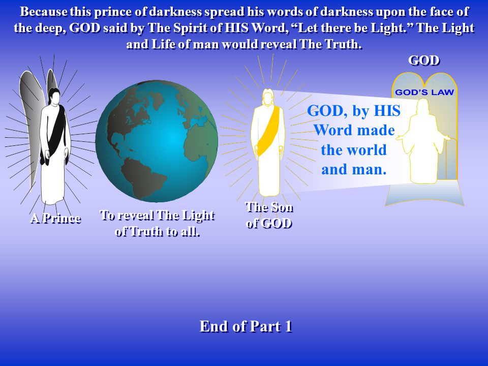Because this prince of darkness spread his words of darkness upon the face of the deep, GOD said by The Spirit of HIS Word, Let there be Light. The Light and Life of man would reveal The Truth.