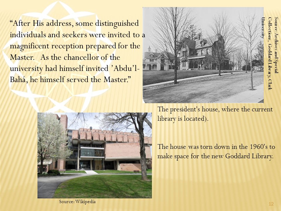 """The president's house, where the current library is located). The house was torn down in the 1960's to make space for the new Goddard Library. 12 """"Aft"""