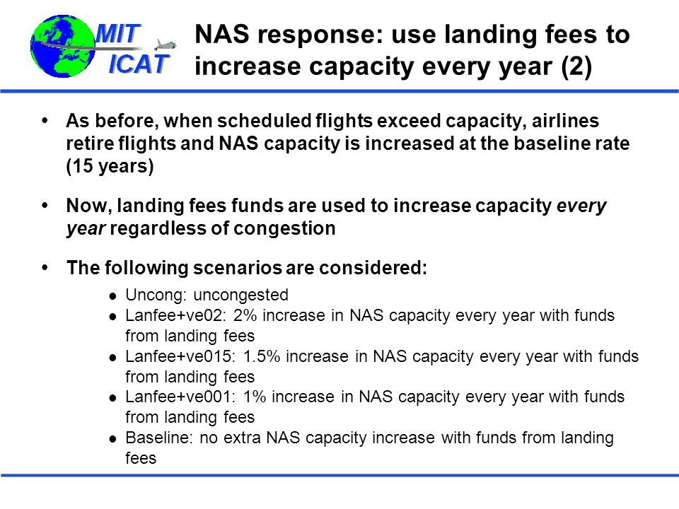 NAS response: use landing fees to increase capacity every year (2)  As before, when scheduled flights exceed capacity, airlines retire flights and NAS capacity is increased at the baseline rate (15 years)  Now, landing fees funds are used to increase capacity every year regardless of congestion  The following scenarios are considered: Uncong: uncongested Lanfee+ve02: 2% increase in NAS capacity every year with funds from landing fees Lanfee+ve015: 1.5% increase in NAS capacity every year with funds from landing fees Lanfee+ve001: 1% increase in NAS capacity every year with funds from landing fees Baseline: no extra NAS capacity increase with funds from landing fees