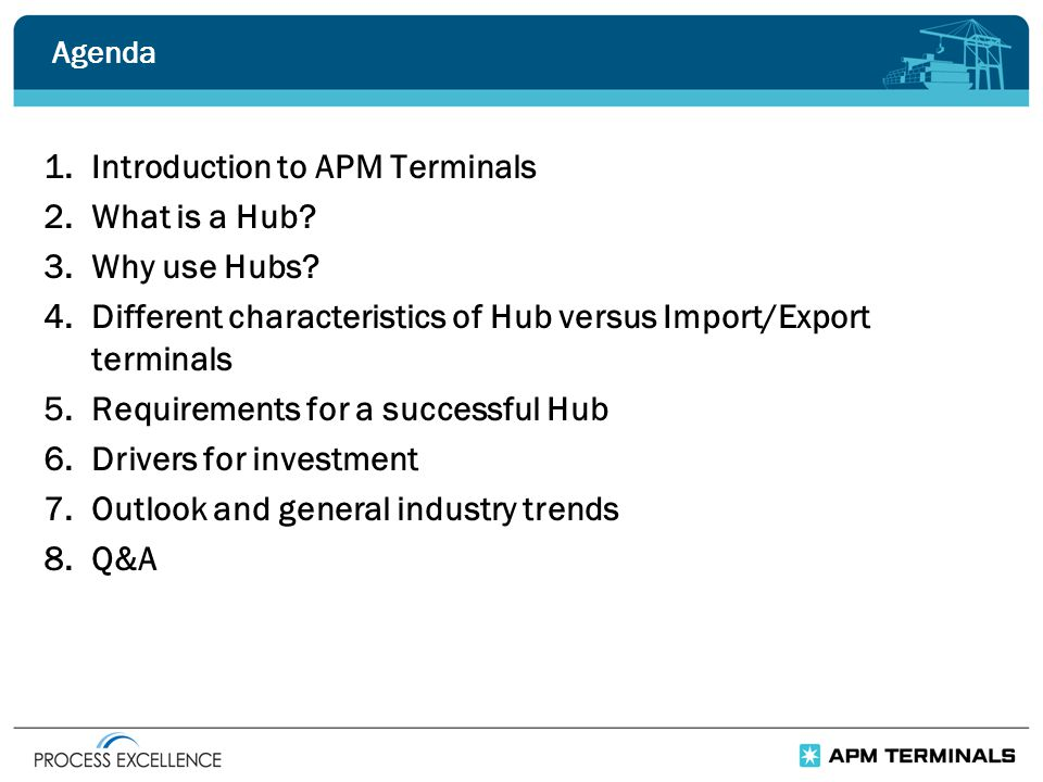 Agenda 1.Introduction to APM Terminals 2.What is a Hub.