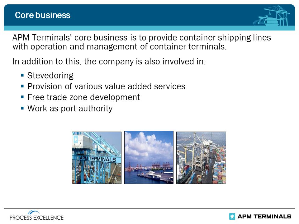 Core business APM Terminals' core business is to provide container shipping lines with operation and management of container terminals.