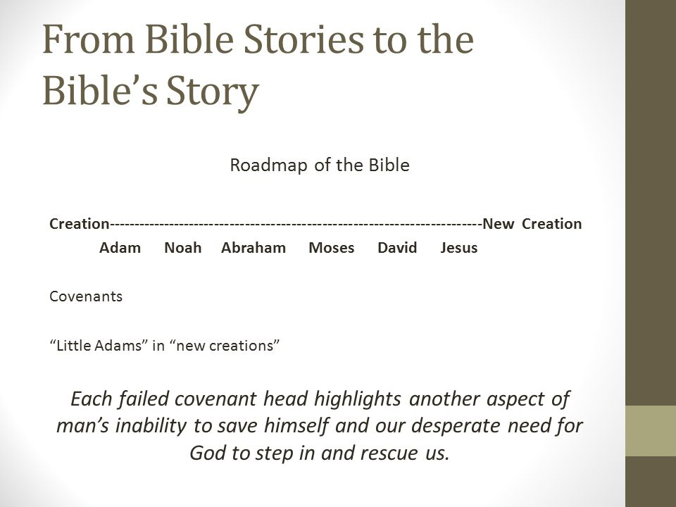 From Bible Stories to the Bible's Story Roadmap of the Bible Creation-------------------------------------------------------------------------New Creation Adam Noah Abraham Moses David Jesus Covenants Little Adams in new creations Each failed covenant head highlights another aspect of man's inability to save himself and our desperate need for God to step in and rescue us.