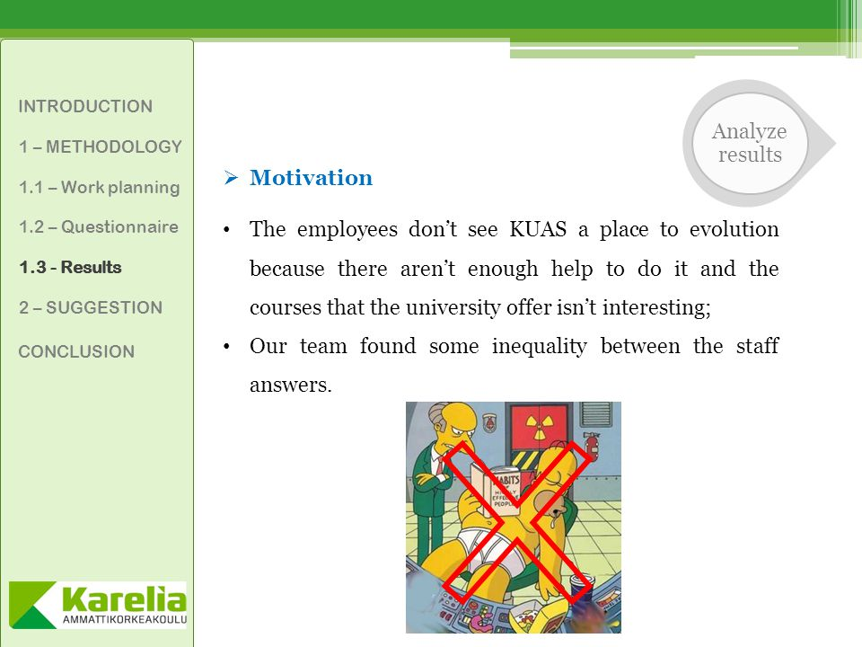 INTRODUCTION 1 – METHODOLOGY 1.1 – Work planning 1.2 – Questionnaire 1.3 - Results 2 – SUGGESTION CONCLUSION  Motivation The employees don't see KUAS a place to evolution because there aren't enough help to do it and the courses that the university offer isn't interesting; Our team found some inequality between the staff answers.