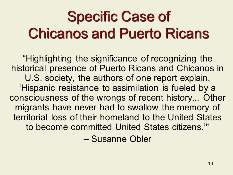 14 Specific Case of Chicanos and Puerto Ricans Highlighting the significance of recognizing the historical presence of Puerto Ricans and Chicanos in U.S.