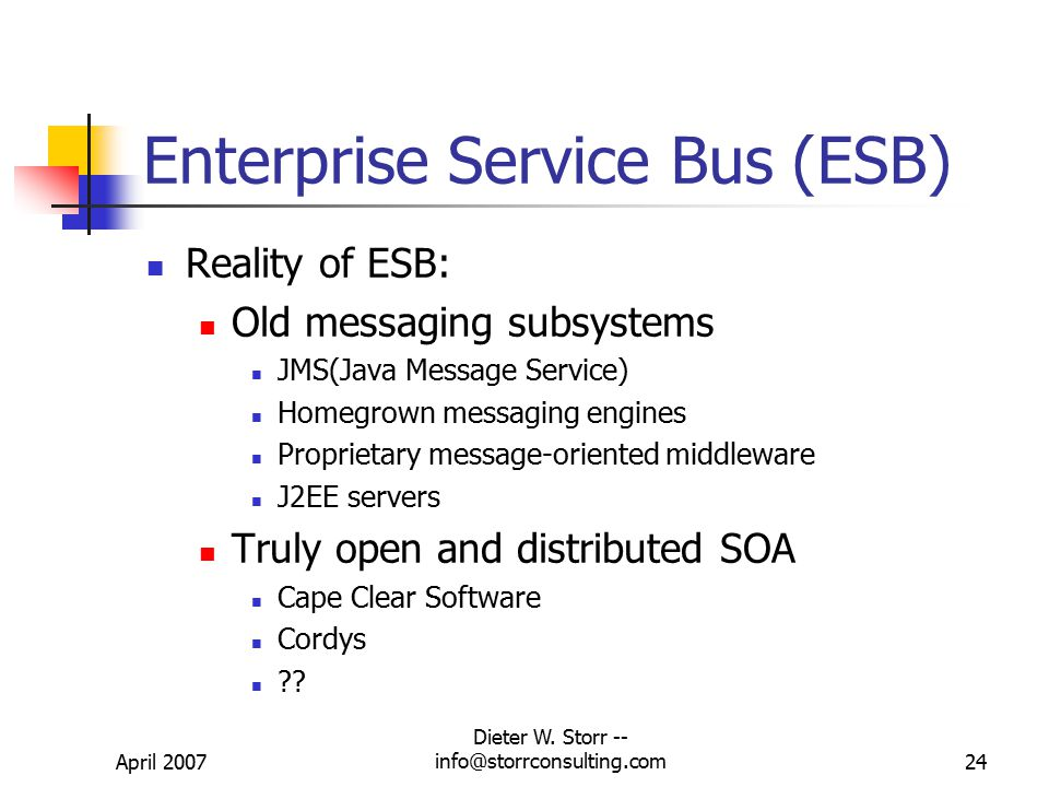 April 2007 Dieter W. Storr -- info@storrconsulting.com23 Enterprise Service Bus (ESB) Dream behind the ESB: Replace proprietary integration brokers wi