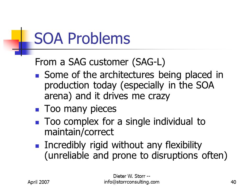 April 2007 Dieter W. Storr -- info@storrconsulting.com39 SOA Example for Financial Services