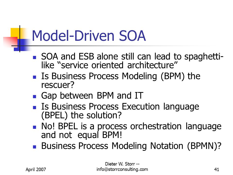 April 2007 Dieter W. Storr -- info@storrconsulting.com40 SOA Problems From a SAG customer (SAG-L) Some of the architectures being placed in production