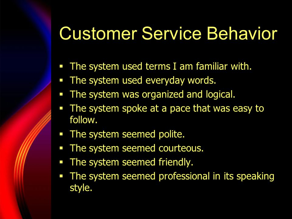 Customer Service Behavior  The system used terms I am familiar with.