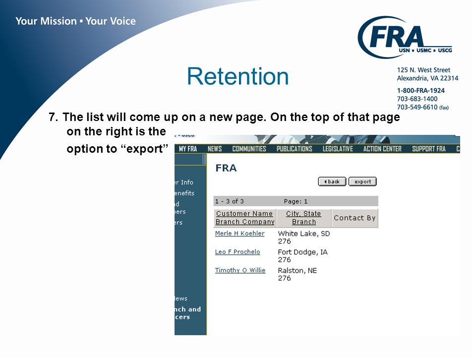 www.fra.org Retention 7. The list will come up on a new page.