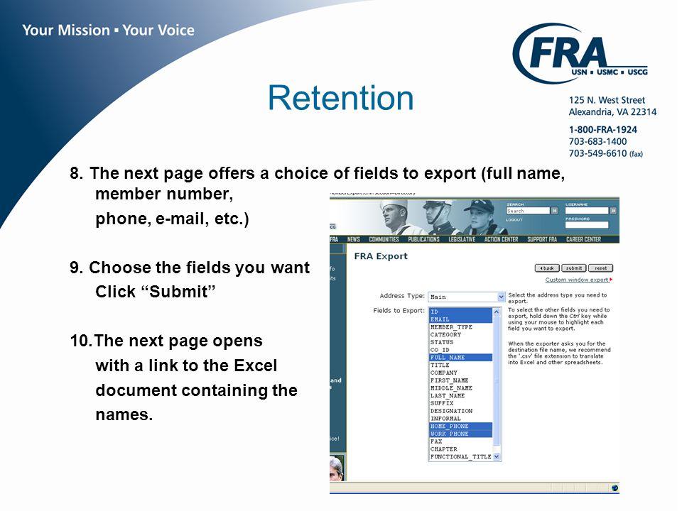 www.fra.org Retention 8.