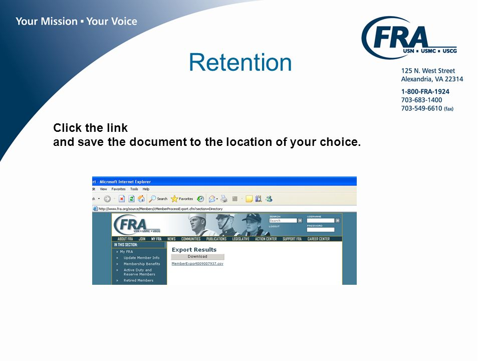 www.fra.org Retention Click the link and save the document to the location of your choice.