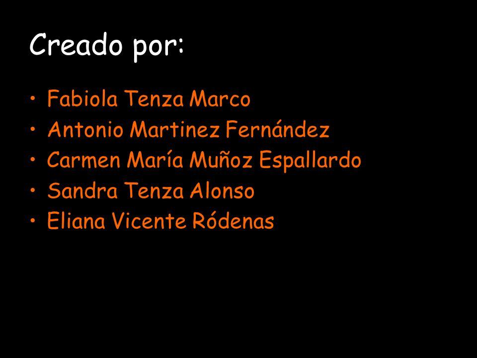 Creado por: Fabiola Tenza Marco Antonio Martinez Fernández Carmen María Muñoz Espallardo Sandra Tenza Alonso Eliana Vicente Ródenas