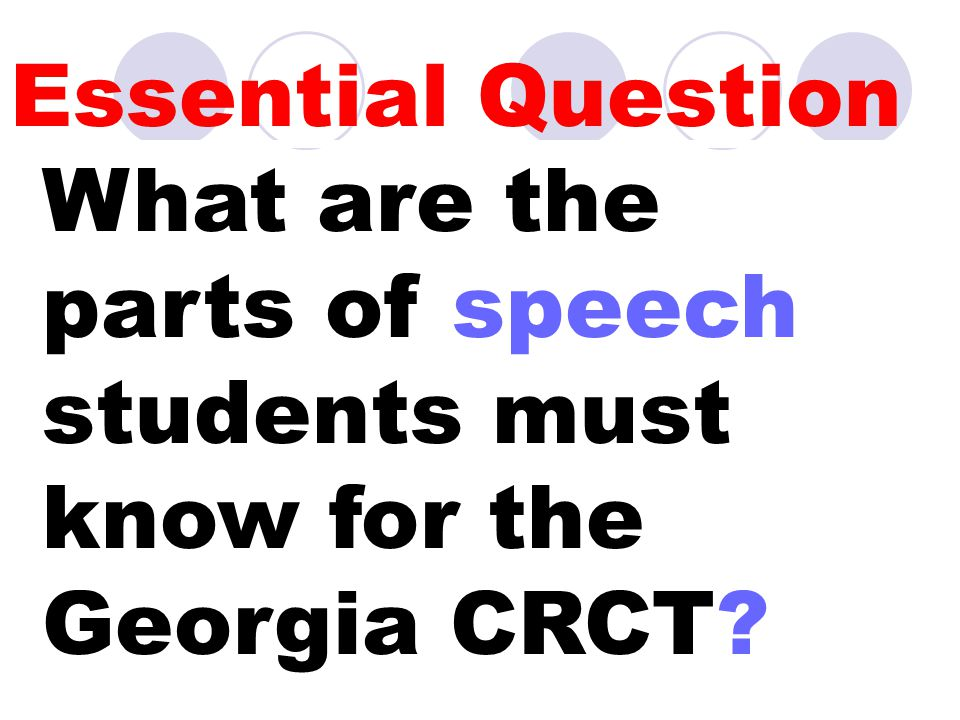 Essential Question What are the parts of speech students must know for the Georgia CRCT?