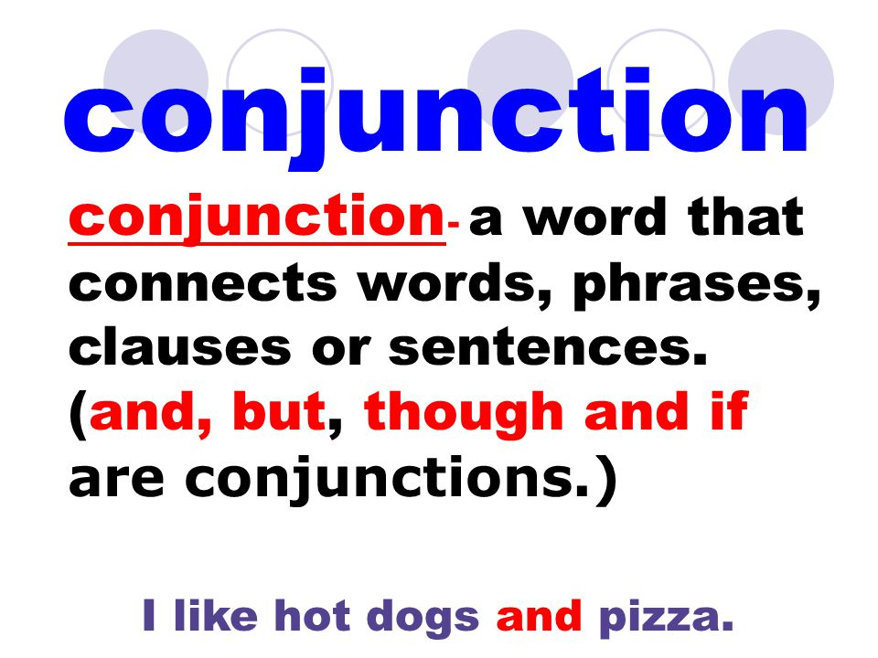conjunction conjunction - a word that connects words, phrases, clauses or sentences.