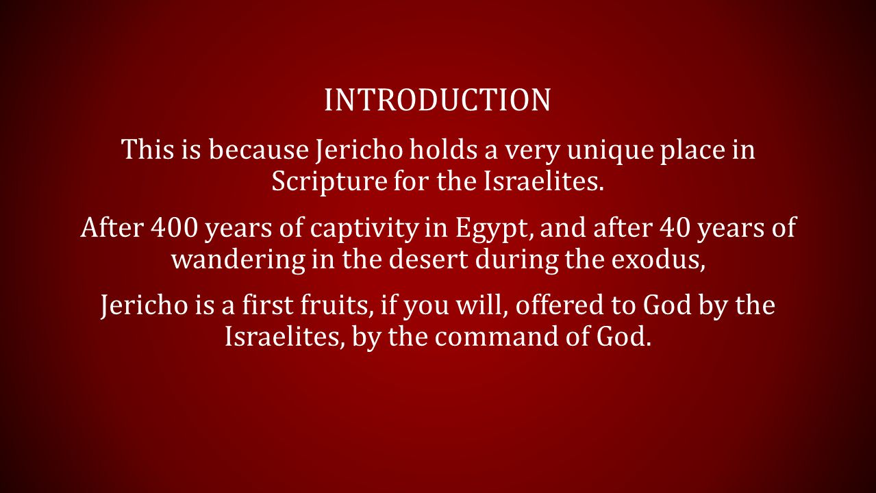 THE PREPARATION God had led the Israelites through those 40 years.