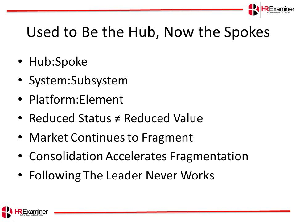 Used to Be the Hub, Now the Spokes Hub:Spoke System:Subsystem Platform:Element Reduced Status ≠ Reduced Value Market Continues to Fragment Consolidation Accelerates Fragmentation Following The Leader Never Works