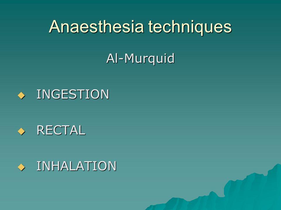 Anaesthesia techniques Al-Murquid  INGESTION  RECTAL  INHALATION