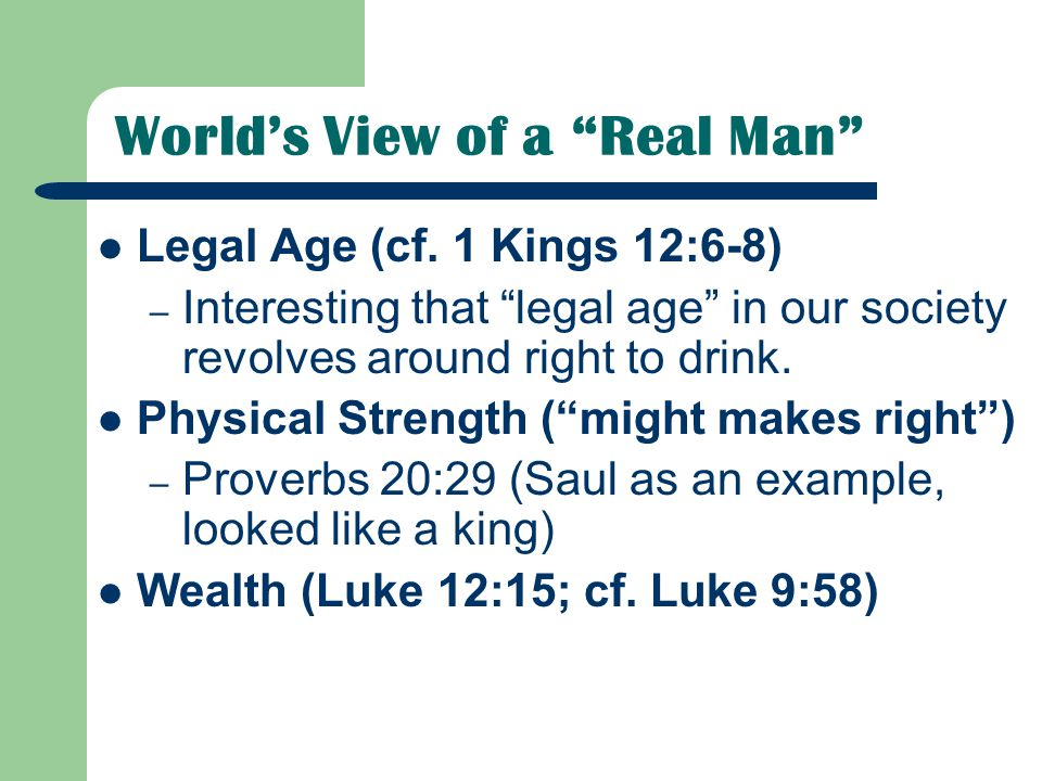 World's View of a Real Man Legal Age (cf.
