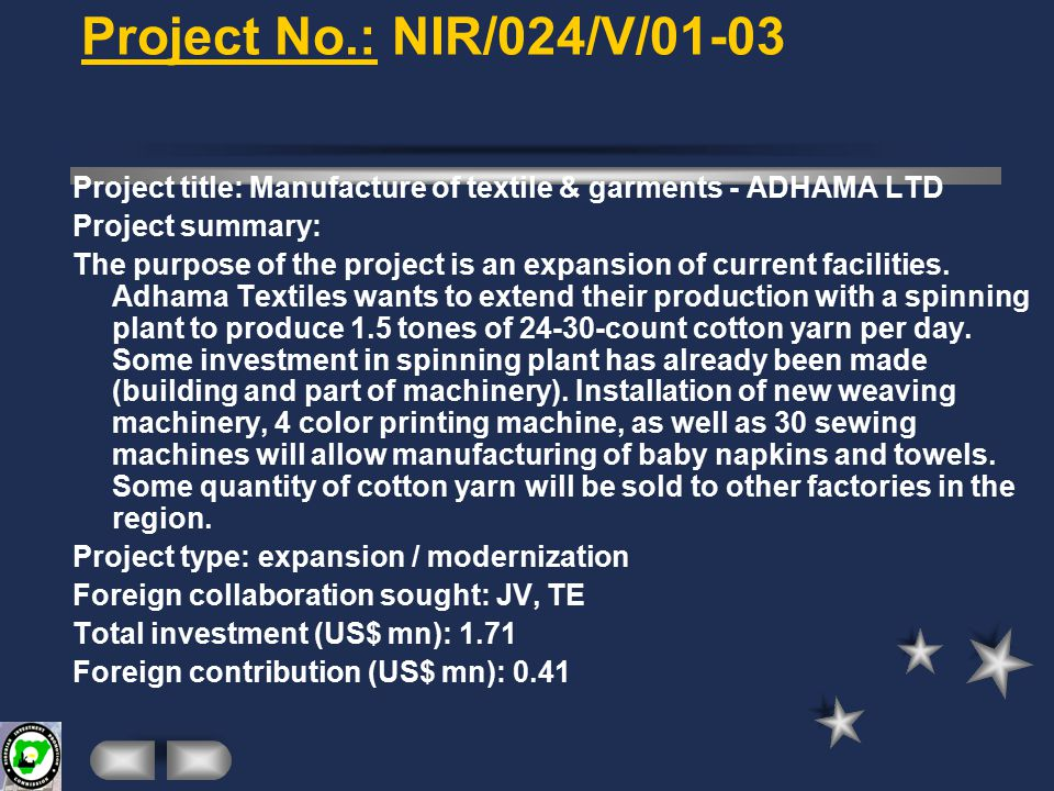 Project No.: NIR/062/V/01-03 Project title: Processing of solid minerals - ITT LTD.