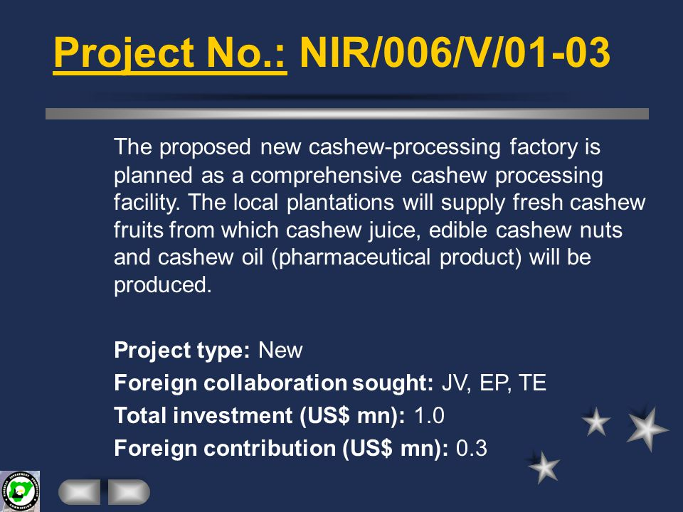 AGRO INDUSTRY Project No.: NIR/001/V/01-03 This is an expansion project proposed by one of the most successful Nigerian fisheries.