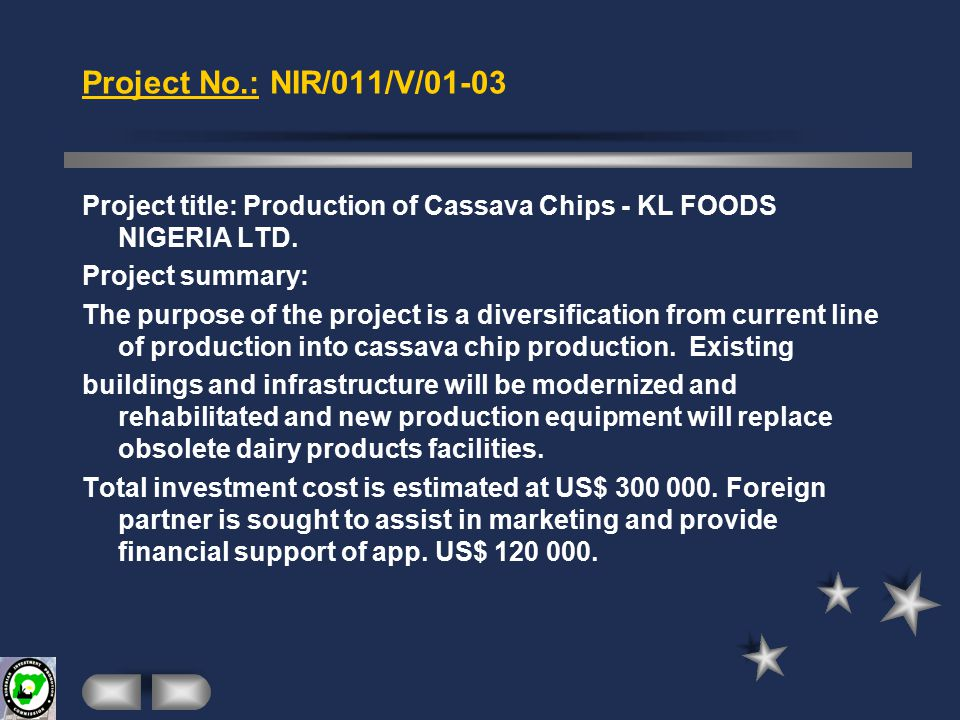 Project No.: NIR/007/V/01-03 Project title: Production of Fruit Juice - ABONEL LTD Project summary: Abonel & Associates International Ltd.