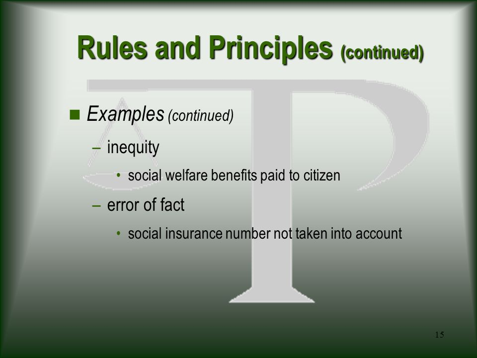 15 Rules and Principles (continued) Examples (continued) –inequity social welfare benefits paid to citizen –error of fact social insurance number not taken into account