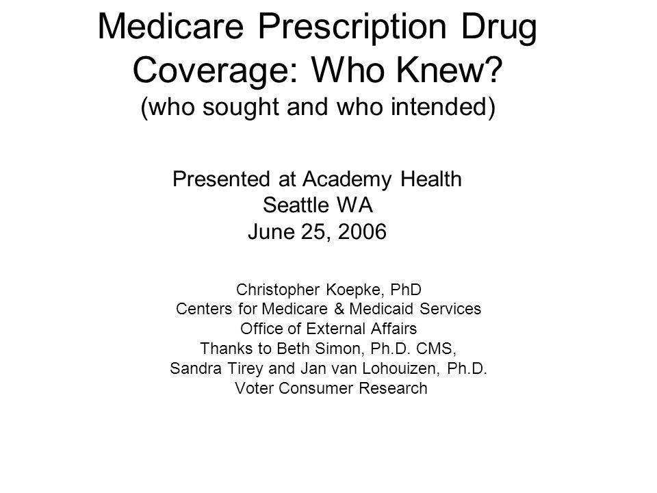 Medicare Prescription Drug Coverage: Who Knew.