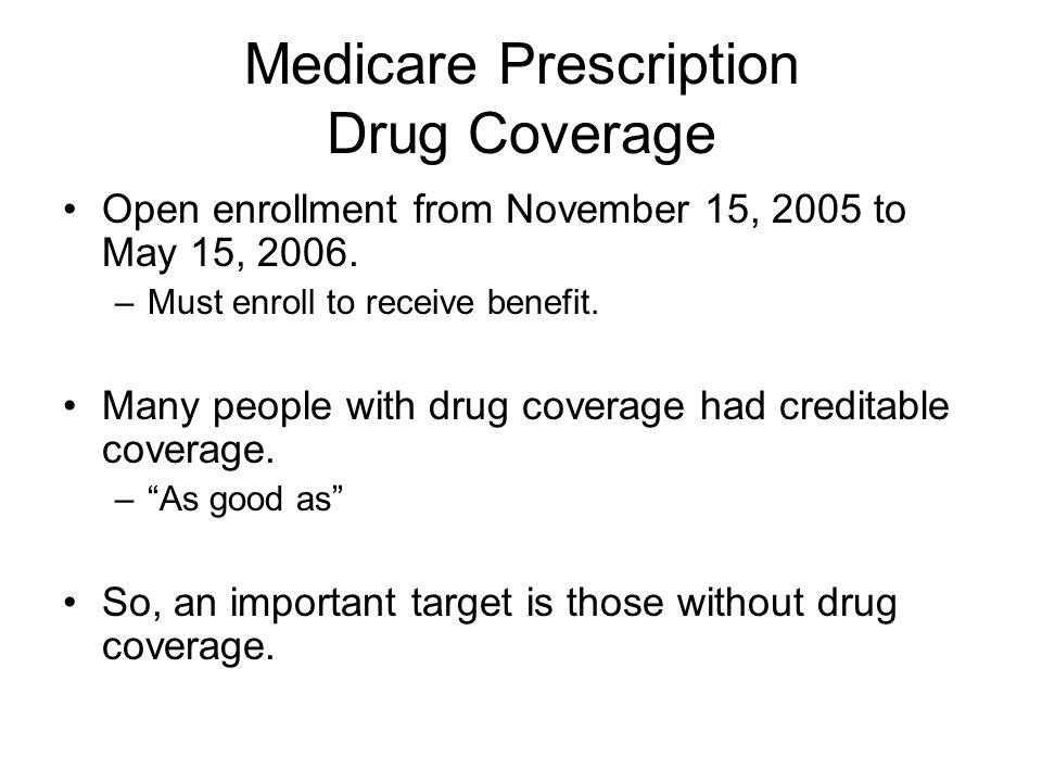 Medicare Prescription Drug Coverage Open enrollment from November 15, 2005 to May 15, 2006.