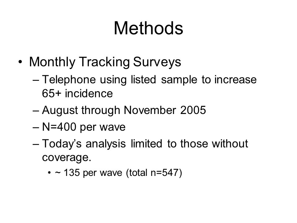 Methods Monthly Tracking Surveys –Telephone using listed sample to increase 65+ incidence –August through November 2005 –N=400 per wave –Today's analy