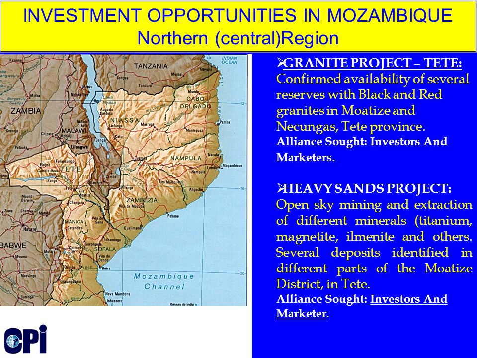  GRANITE PROJECT – TETE: Confirmed availability of several reserves with Black and Red granites in Moatize and Necungas, Tete province.