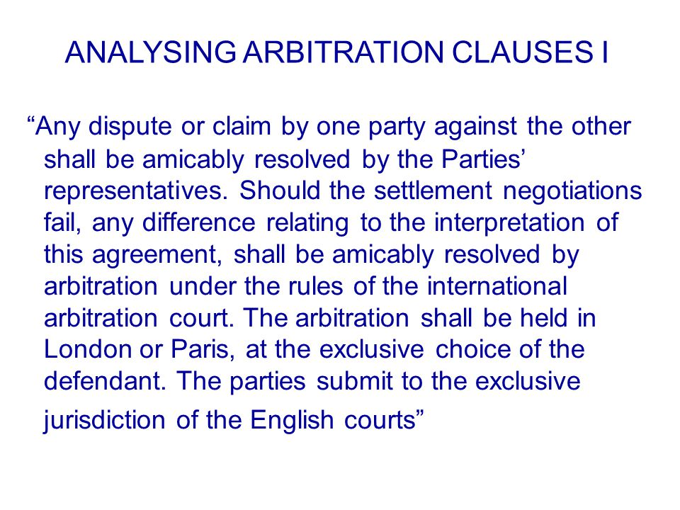 Any dispute or claim by one party against the other shall be amicably resolved by the Parties' representatives.