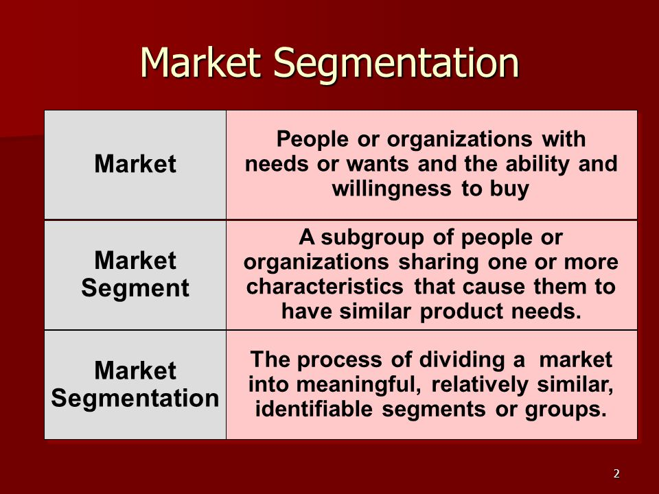 2 Market Segmentation Market Segment Market Segment Market Segmentation Market Segmentation People or organizations with needs or wants and the ability and willingness to buy A subgroup of people or organizations sharing one or more characteristics that cause them to have similar product needs.