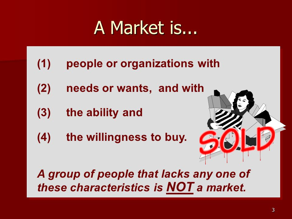3 A Market is... (1) people or organizations with (2) needs or wants, and with (3) the ability and (4) the willingness to buy. A group of people that