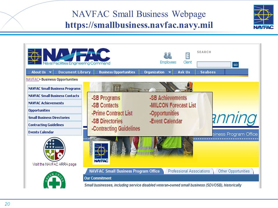 20 NAVFAC Small Business Webpage https://smallbusiness.navfac.navy.mil