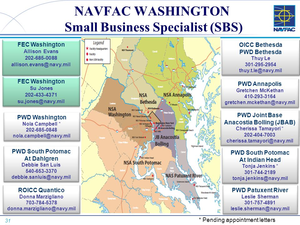 31 NAVFAC WASHINGTON Small Business Specialist (SBS) FEC Washington Allison Evans 202-685-0088 allison.evans@navy.mil FEC Washington Allison Evans 202