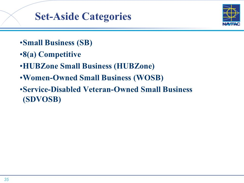 35 Set-Aside Categories Small Business (SB) 8(a) Competitive HUBZone Small Business (HUBZone) Women-Owned Small Business (WOSB) Service-Disabled Veter