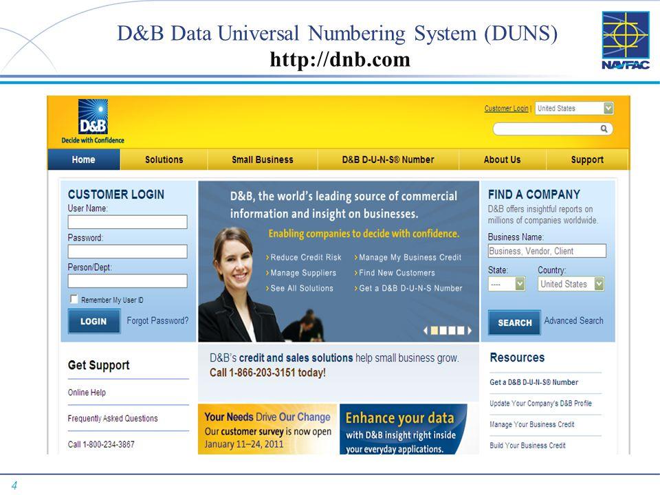 4 D&B Data Universal Numbering System (DUNS) http://dnb.com