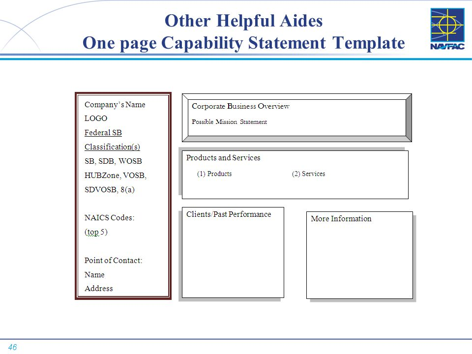 46 Other Helpful Aides One page Capability Statement Template