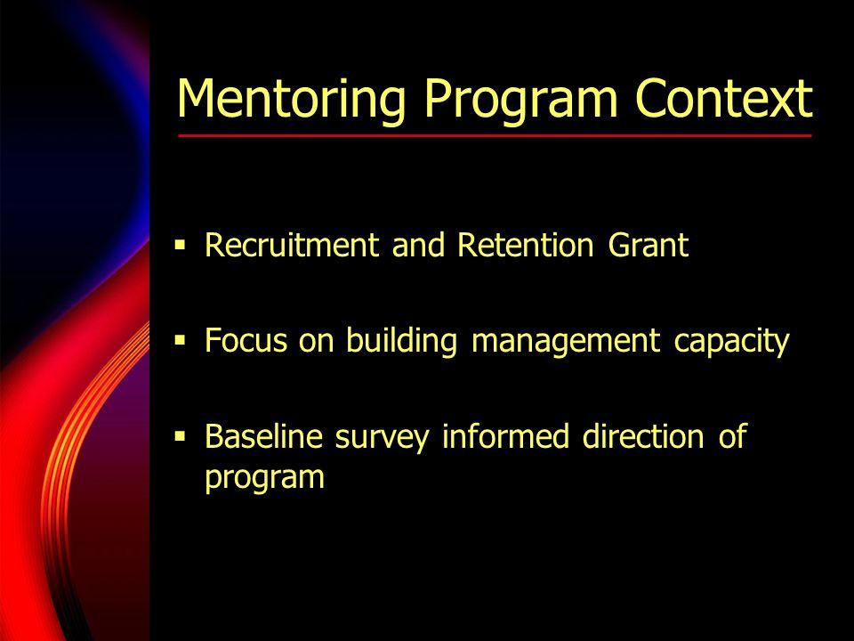 Mentoring Program Context  Recruitment and Retention Grant  Focus on building management capacity  Baseline survey informed direction of program