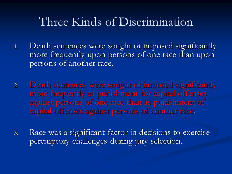 Three Kinds of Discrimination 1.