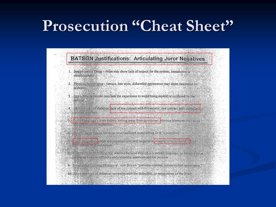 Prosecution Cheat Sheet