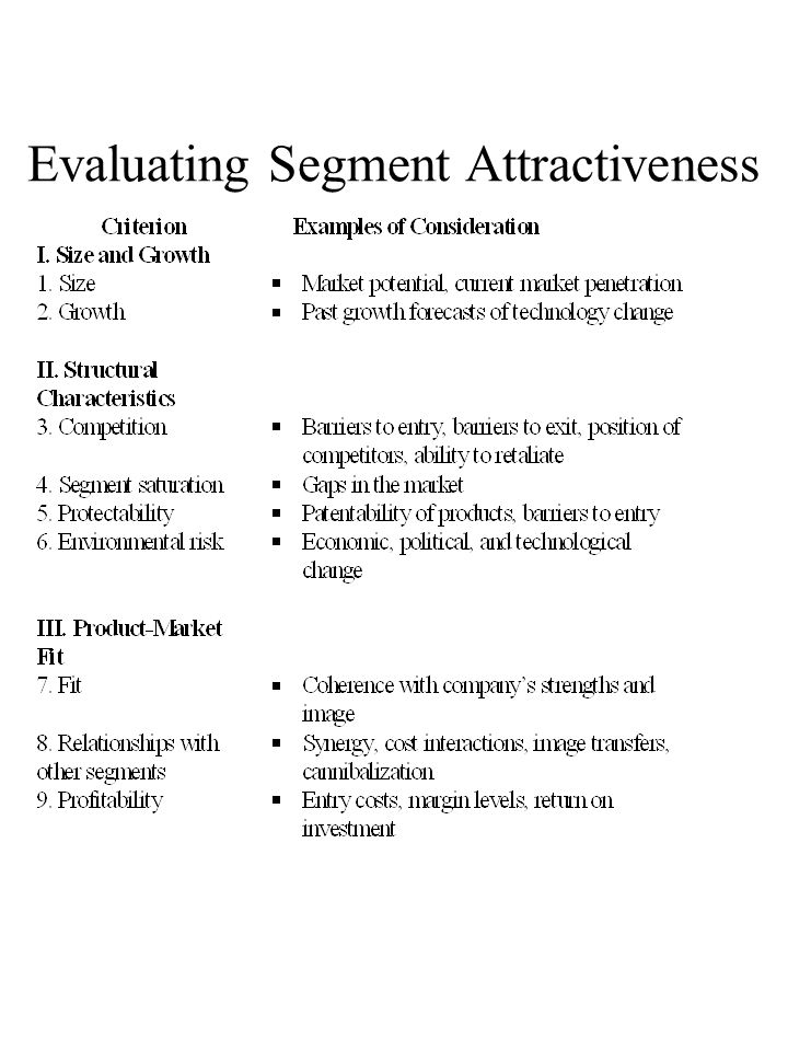 Evaluating Segment Attractiveness