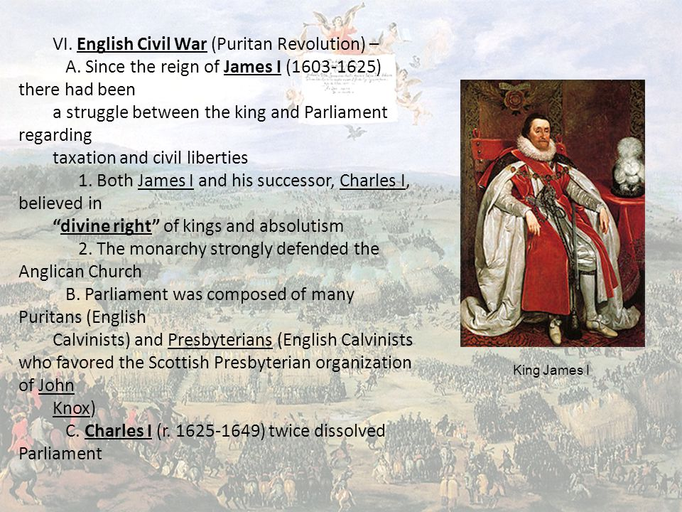 VI. English Civil War (Puritan Revolution) – A.