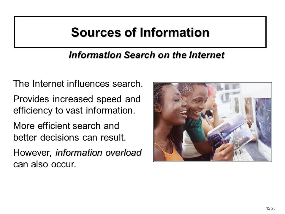 15-20 Sources of Information The Internet influences search. Provides increased speed and efficiency to vast information. More efficient search and be