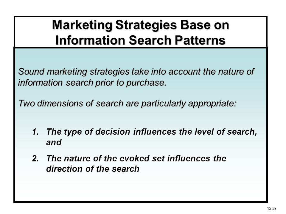 15-40 Marketing Strategies Based on Information Search Patterns