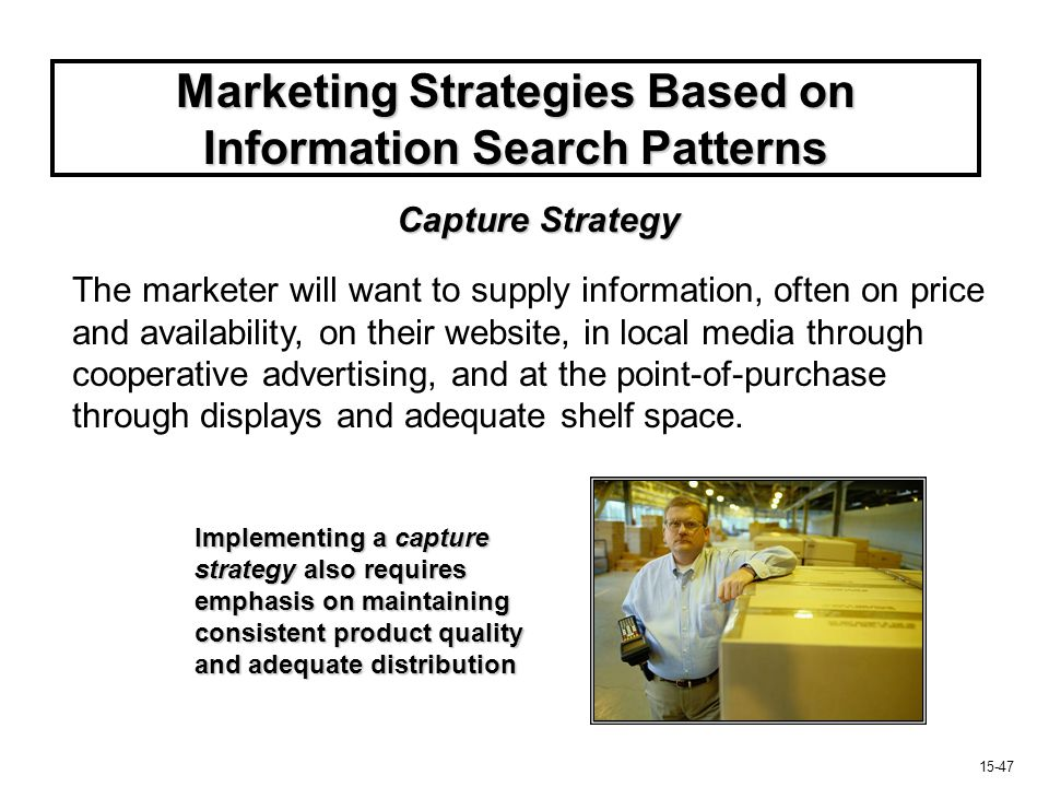15-48 Marketing Strategies Based on Information Search Patterns If limited decision making and brand is not part of evoked set, objective will be to intercept the consumer during search.