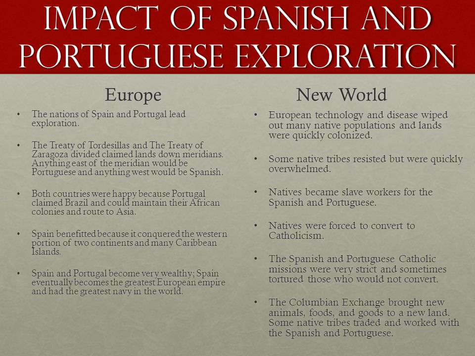 Impact of Spanish and Portuguese exploration Europe The nations of Spain and Portugal lead exploration.The nations of Spain and Portugal lead explorat
