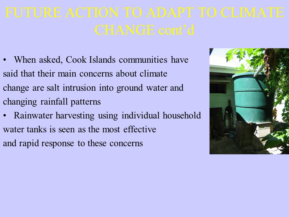 FUTURE ACTION TO ADAPT TO CLIMATE CHANGE cont'd When asked, Cook Islands communities have said that their main concerns about climate change are salt